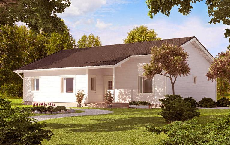 Финский дом с двускатной крышей АЕ130