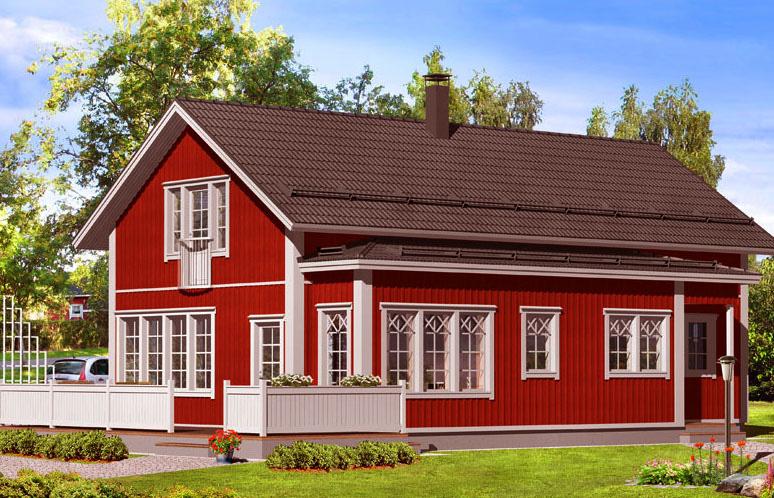 Двухэтажный финский дом с терассой ВС130