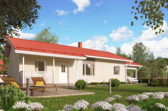 Финский дом с терассой и навесом для авто АЕ100