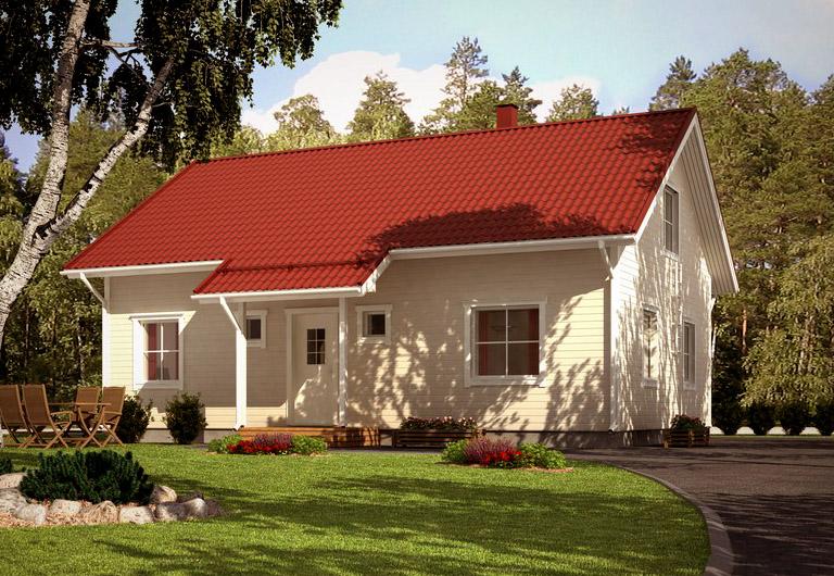 Полутораэтажный дом с двухскатной крышей АЕ87
