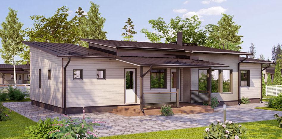 Одноэтажный каркасный дом с отделкой сайдингом с терассой АС151