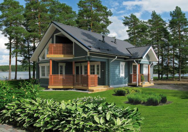 Финский дом с мансардой и угловой террасой Т037