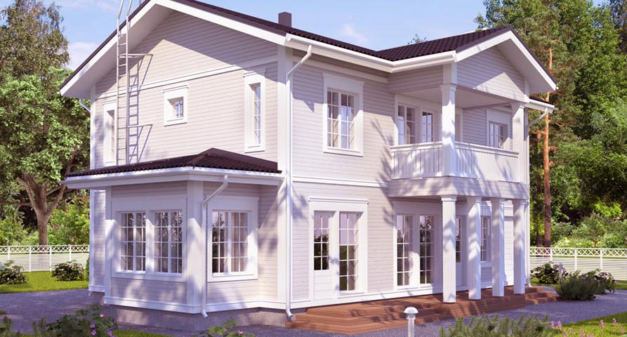 Финский двухэтажный дом с балконом BX221
