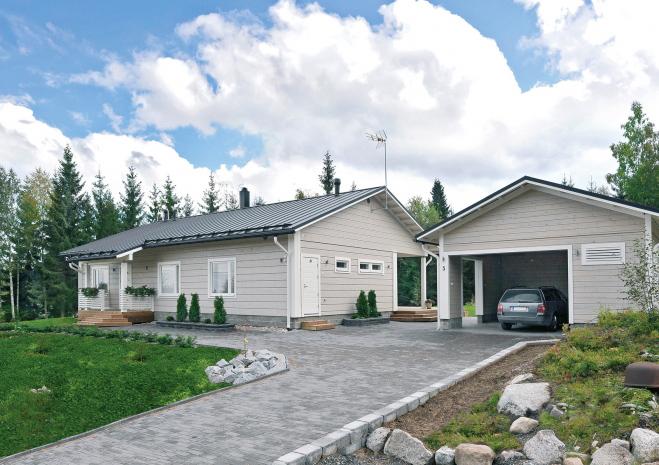Одноэтажный дом с двускатной крышей Т028