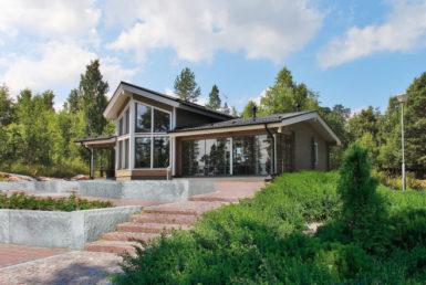 Одноэтажный дом с парусной крышей Т057
