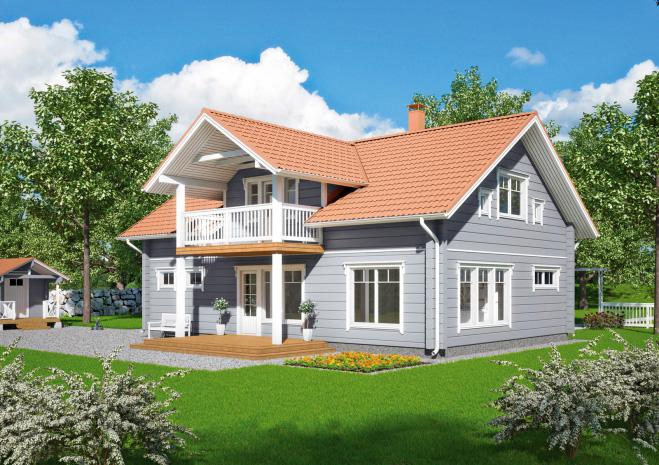 Двухэтажный дом с балконом на колоннах Т008