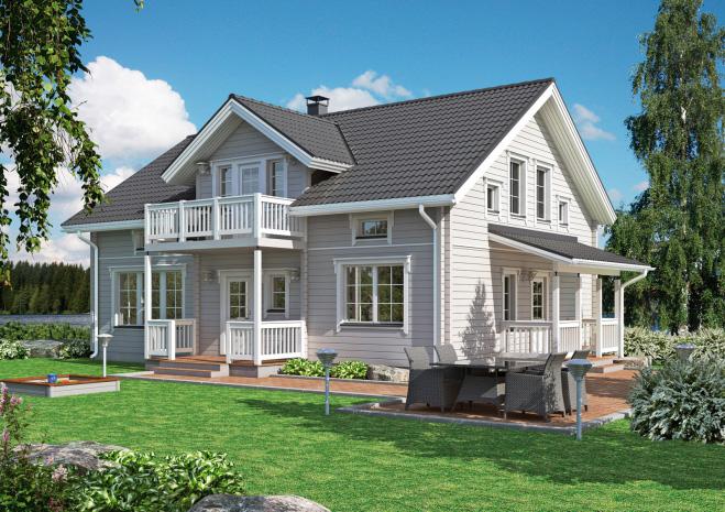 Двухэтажный финский дом с балконом под крышей Т009