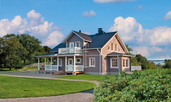 Двухэтажный финский дом с многоскатной крышей Т017