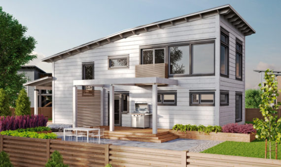 Двухэтажный дом с односкатной ломаной крышей Т018