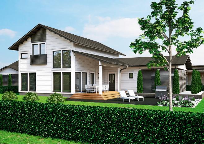 Двухэтажный дом с застекленным фасадом и гаражом Т021