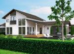 Финский двухэтажный дом с открытой террасой и гаражом Т022
