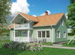 Финский дом с мансардой и крытым балконом Т023