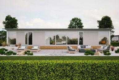 Одноэтажный дом с односкатной крышей и застекленным фасадом Т026