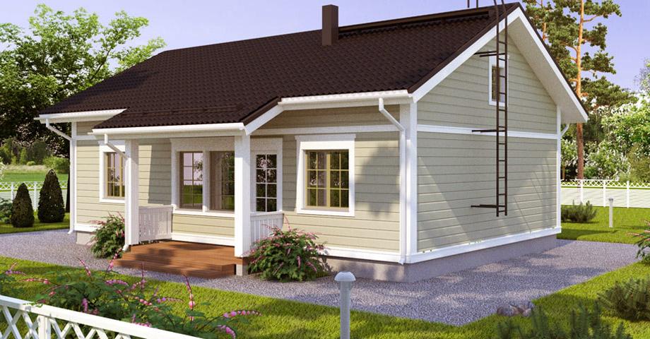Одноэтажный дом с двускатной крышей BX105