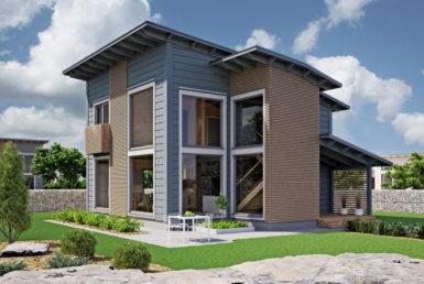 Двухэтажный дом с застекленным фронтоном и односкатной крышей Т035