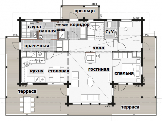 Дом с мансардой и застекленным фасадом Т024