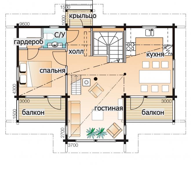 Двухэтажный дом с мансардой Т074