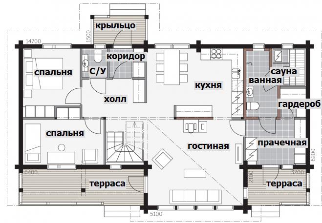 Финский двухэтажный дом с застекленной гостиной Т025