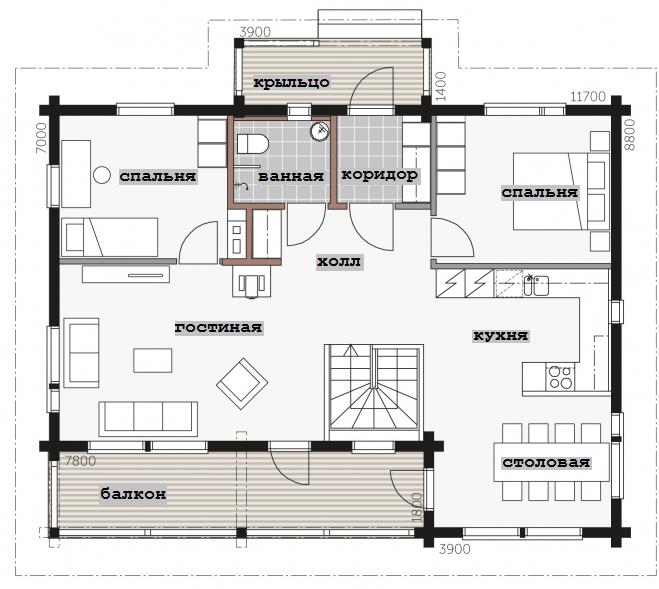 Двухэтажный дом в двух уровнях Т016