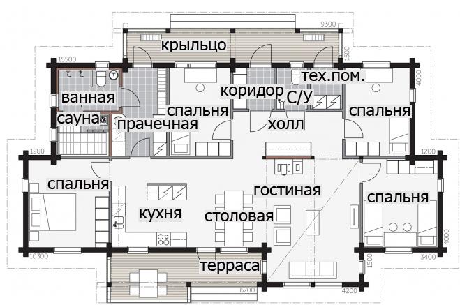 Одноэтажный дом с крытой террасой и высокими потолками Т029