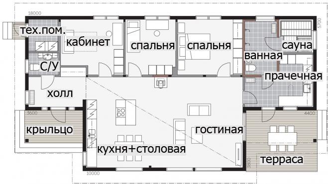 Одноэтажный дом с высокой односкатной крышей Т030