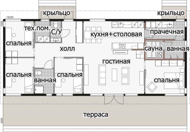 Одноэтажный дом с застекленными стенами Т032