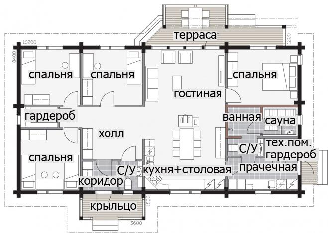 Одноэтажный дом с крыльцом под двускатной крышей Т033