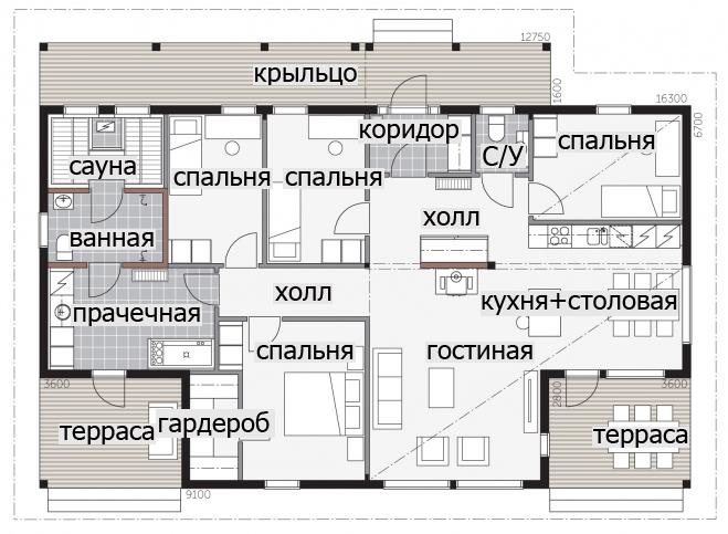 Одноэтажный дом с застекленной входной группой Т034