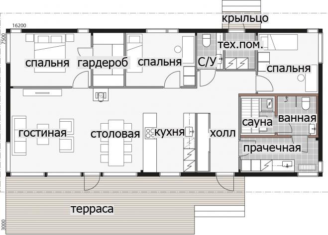 Т052 Одноэтажный дом с односкатной крышей и застекленным фасадом.