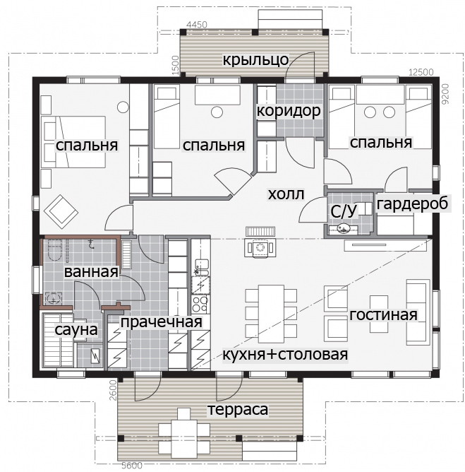 Одноэтажный дом с терррасой под козырьком Т060