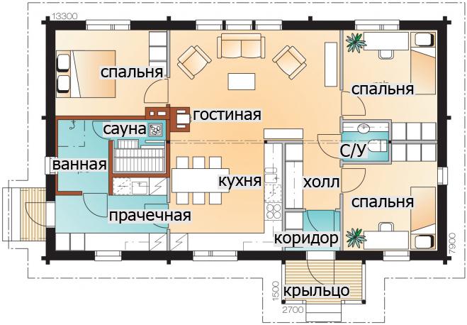 Одноэтажный дом с застекленным чердаком Т066