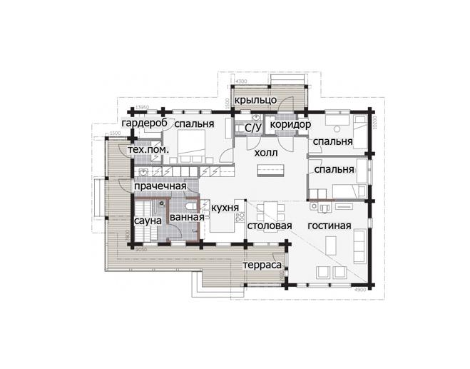Одноэтажный дом с многоскатной крышей Т051