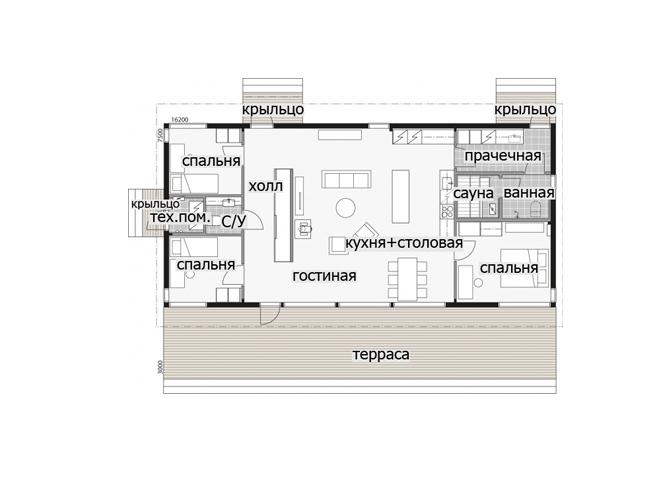 Odnoehtazhnyj dom dom pod odnoskatnoj kryshej s krytoj terrasoj T053