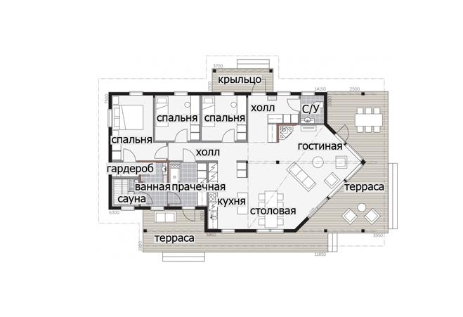 Одноэтажный дом с застекленной входной группой Т049