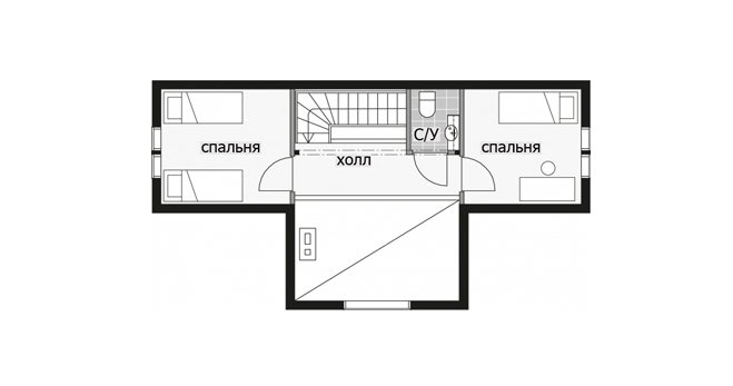 Двухэтажный дом с крытой просторной террасой Т055