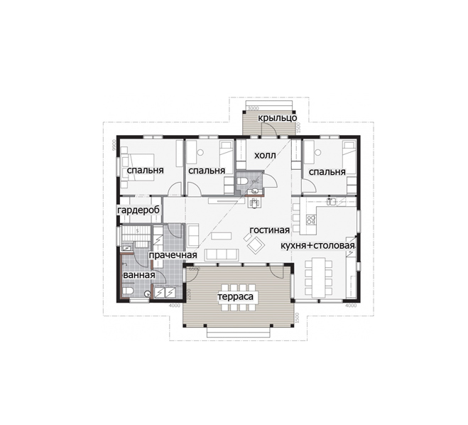 Одноэтажный дом с застекленным фасадом Т039