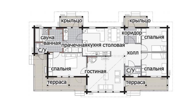 Одноэтажный дом с застекленной входной группой Т043