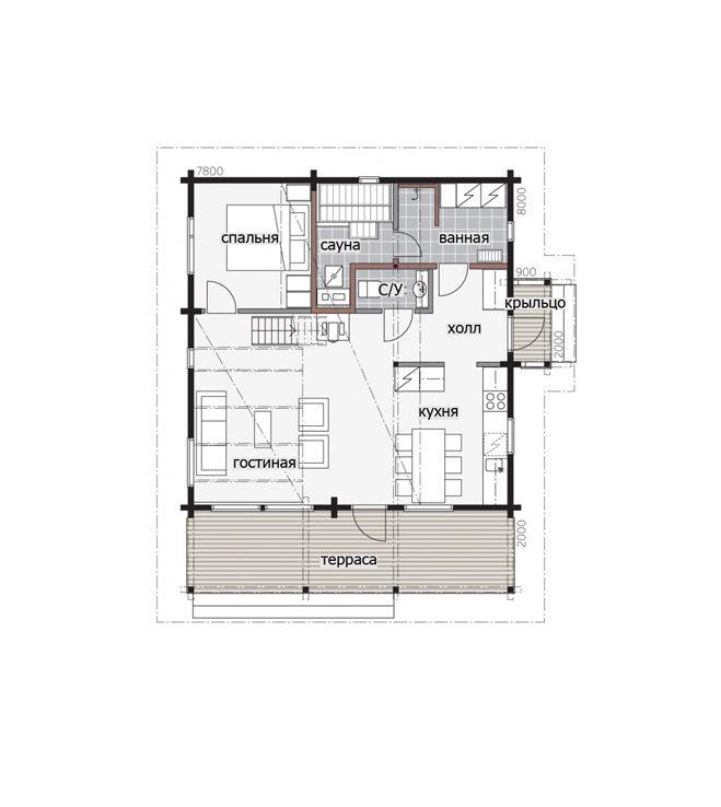 Двухэтажный дом с просторным балконом под общей крышей Т056