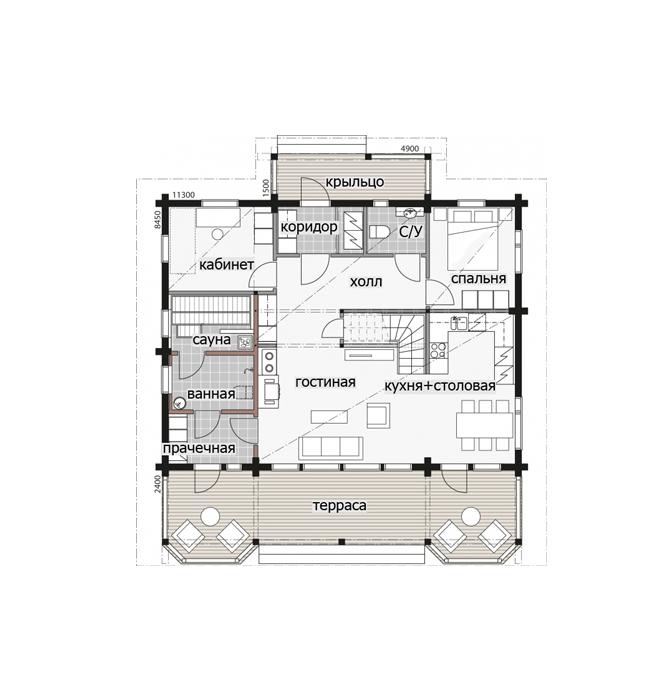 Дом с мансардой и просторной террасой Т067