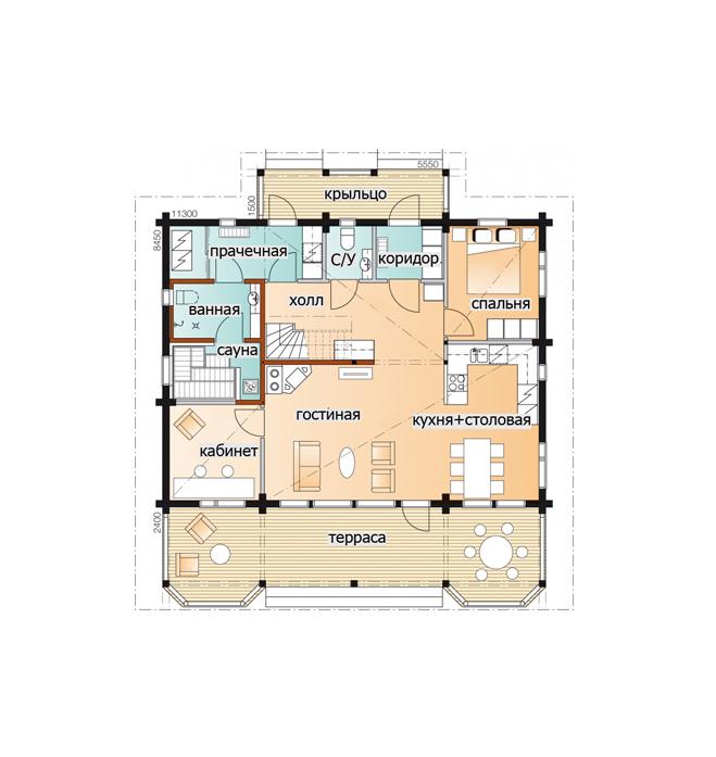 Мансардный дом с просторной террасой Т069