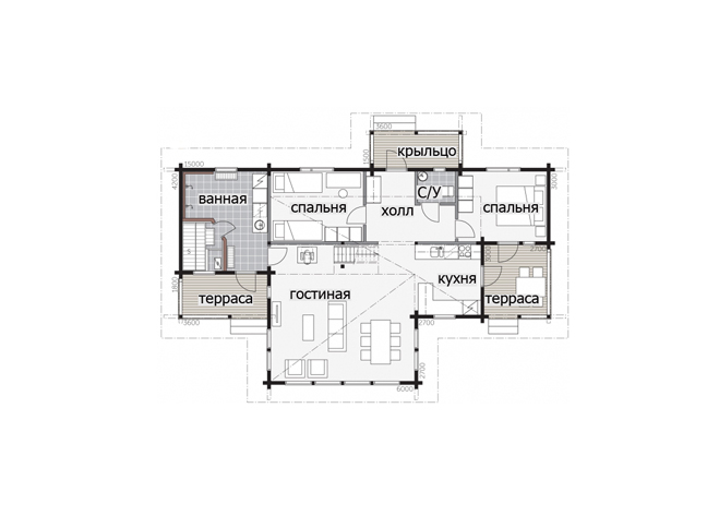 Мансардный дом с застекленной входной группой Т070