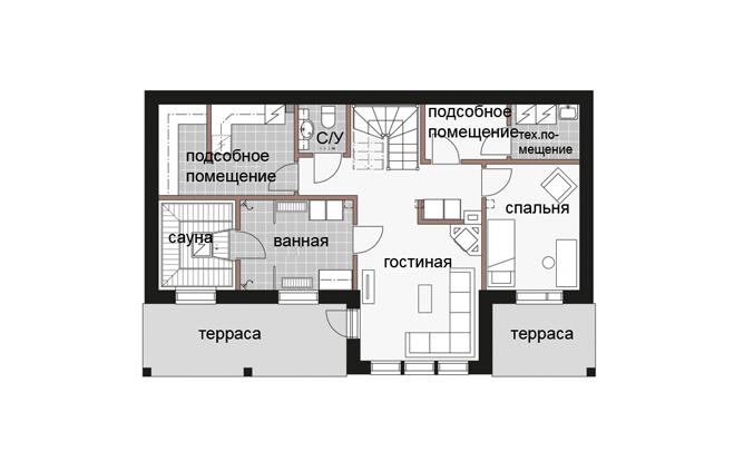 Двухуровневый дом с многоскатной крышей Т015