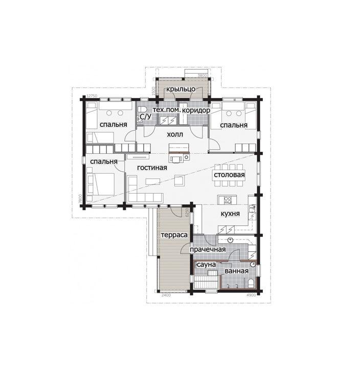 Одноэтажный Г-образный дом Т038