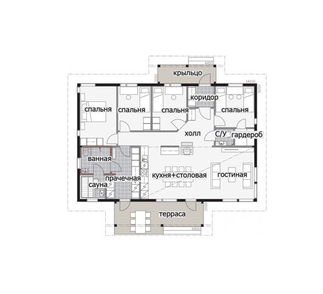 Одноэтажный финский дом с высокой односкатной крышей Т040