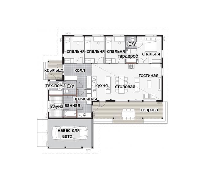 Одноэтажный финский дом с навесом для автомобиля Т042