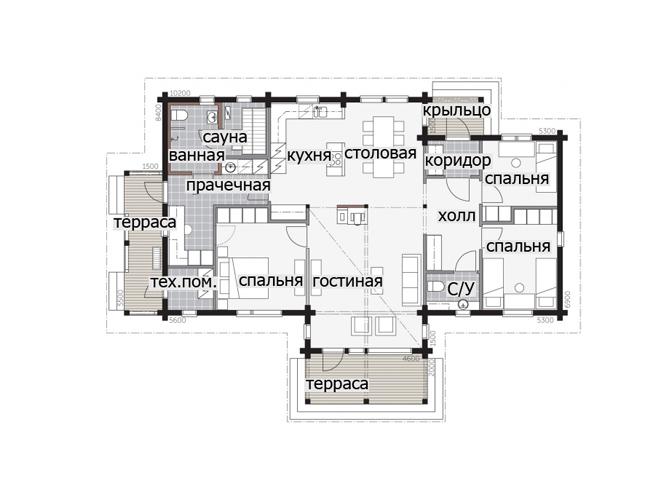 Одноэтажный дом с массивным крыльцом под навесом Т045