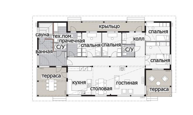 Одноэтажный финский дом с высокой односкатной крышей Т046