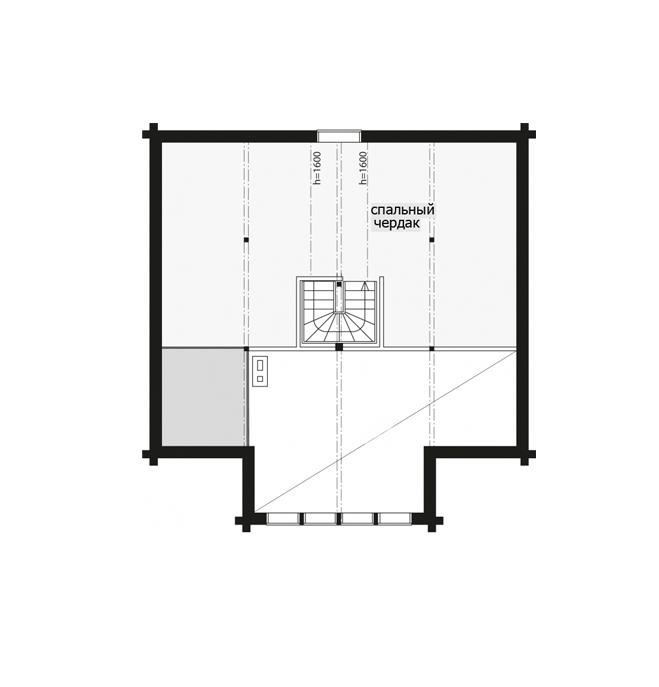 Одноэтажный финский дом с застекленным фронтоном Т068
