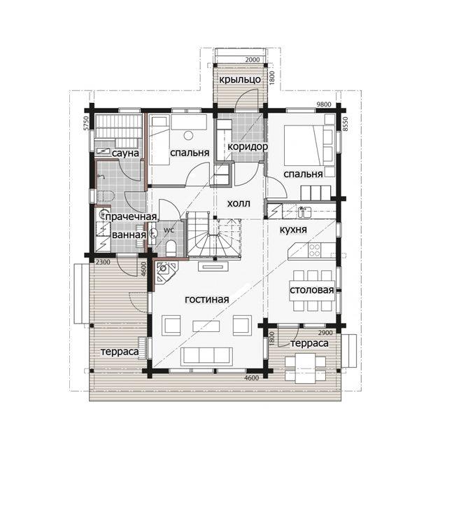 Мансардный дом с застекленным фронтоном Т075