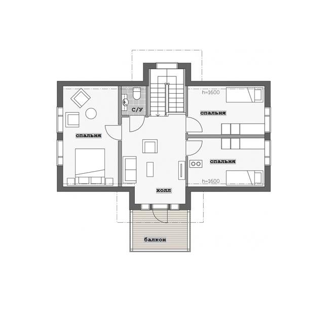 Двухэтажный финский дом с многоскатной крышей 019